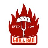Grill bar. Fork with sausage and fire. Design element for logo, label, emblem, sign. Vector image Stock Photo