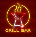 Grill bar neon icon equipment for bbq picnic. Grill bar neon icon. Equipment for bbq picnic. Barbecue for frying meat on fire. EPS10 vector illustration Stock Photo