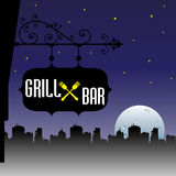 Grill and bar plate Royalty Free Stock Photos