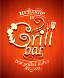 Grill bar retro poster. Stock Photo