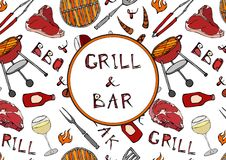 Grill Bar. Seamless Pattern of Summer BBQ Grill Party. Glass of Red, Rose, White Vine, Steak, Sausage, Barbeque Grid, Tongs, Fork,. Fire, Ketchup. Hand Drawn stock illustration