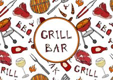 Grill Bar. Seamless Pattern of Summer BBQ Grill Party. Glass of Red, Rose, White Vine, Steak, Sausage, Barbeque Grid, Tongs, Fork,. Fire, Ketchup. Hand Drawn Royalty Free Stock Photos