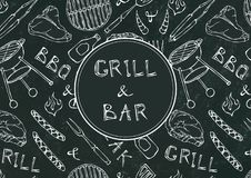 Grill Bar. Seamless Pattern of Summer BBQ Grill Party. Beer, Steak, Sausage, Barbeque Grid, Tongs, Fork, Fire. Black Board Backgro. Und and Chalk. Hand Drawn vector illustration