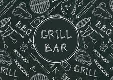 Grill Bar. Seamless Pattern of Summer BBQ Grill Party. Beer, Steak, Sausage, Barbeque Grid, Tongs, Fork, Fire. Black Board Backgro. Und and Chalk. Hand Drawn royalty free illustration