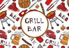 Grill Bar. Seamless Pattern of Summer BBQ Grill Party. Beer, Steak, Sausage, Barbeque Grid, Tongs, Fork, Fire, Ketchup. Hand Drawn. Vector Illustration Savoyar Royalty Free Stock Photos