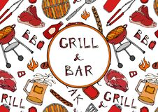 Grill Bar. Seamless Pattern of Summer BBQ Grill Party. Beer, Steak, Sausage, Barbeque Grid, Tongs, Fork, Fire, Ketchup. Hand Drawn. Vector Illustration Savoyar Stock Image
