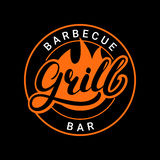 Grill barbecue bar hand written lettering logo, label, badge or emblem with fire. Isolated on black background. Vector illustration Stock Photo