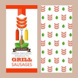 Barbecue, grill. Emblem, logo. Colorful vector illustration in f. Grill, barbecue. Delicious grilled sausages on fork with mustard and ketchup. The template of Royalty Free Stock Photography
