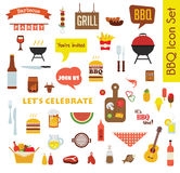 Grill of Barbecue groot die Pictogram met voedsel en voorwerpen wordt geplaatst Stock Fotografie