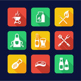 Grill Or Barbecue Icons Flat Design Royalty Free Stock Photos
