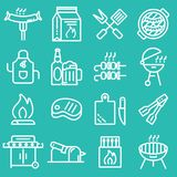 Grill or Barbecue icons set. For your design Royalty Free Stock Photos