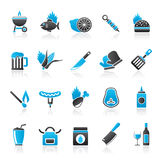 Grill and Barbecue Icons Stock Images