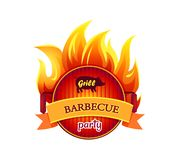 Grill Barbecue Party Hot Icon Vector Illustration. Grill barbecue party hot isolated icon vector. Frying pan fryer with flames fire. Barbeque curved ribbon with vector illustration