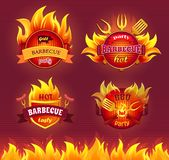 Grill Barbecue Party Hot Set Vector Illustration. Grill barbecue party hot isolated icons set vector. Flames and frying pan, dinnerware and cutlery for barbeque vector illustration