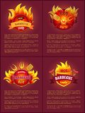 Grill Barbecue Party Tasty Set Vector Illustration. Grill barbecue party tasty food and sausages. Posters set with text sample and emblems in fire. Barbeque pork vector illustration