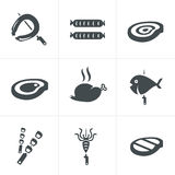 Grill and barbecue related  icons set Royalty Free Stock Photos
