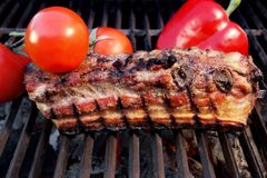 Grill Barbecue Ribs Flames Brisket Charcoal, XXXL Royalty Free Stock Image