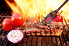 Grill Barbecue Ribs Flames Brisket Charcoal, XXXL Royalty Free Stock Photos