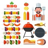 Barbecue, grill. Emblem, logo. Colorful vector illustration in f. Grill, barbecue. A set of colorful cliparts, design elements. Happy chef with a cooking spatula Royalty Free Stock Photo
