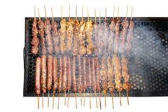 Grill and barbecue skewers top view Stock Photos
