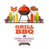 Barbecue, grill. Emblem, logo. Colorful vector illustration in f. Grill, barbecue. Vector illustration. Farm organic products. Delicious grilled sausages and Stock Photo