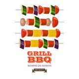 Barbecue, grill. Emblem, logo. Colorful vector illustration in f. Grill, barbecue. Vector illustration. Farm organic products. Delicious grilled sausages and Royalty Free Stock Photo