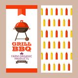 Barbecue, grill. Emblem, logo. Colorful vector illustration in f. Grill, barbecue. Vector illustration. Flyer template. The pattern of the back side of the flyer Stock Photo