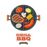 Barbecue, grill. Emblem, logo. Colorful vector illustration in f. Grill, barbecue. Vector illustration. On the grill barbecue fry a large appetizing steak Royalty Free Stock Photography