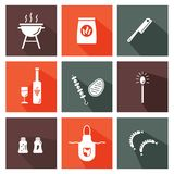 Grill and barbeque. Colorful icons with long shadows royalty free illustration