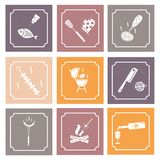 Grill and barbeque. Square icons in vintage style stock illustration