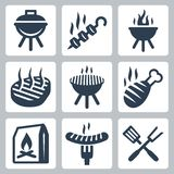 Grill and barbeque related vector icons. Set royalty free illustration