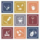 Grill and barbeque. Square icons in vintage style. Grill cooking proccess vector illustration