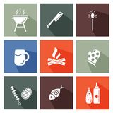 Grill and barbeque tools set. Grill and barbeque too s set. Colorful icons with lomg shadows vector illustration