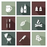Grill and barbeque tools set. Colorful icons with long shadows royalty free illustration