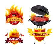 Grill BBQ Barbecue Party Set Vector Illustration. Grill BBQ barbecue party isolated icons set vector. Brazier mangal and emblems with text. Mangal with roast royalty free illustration
