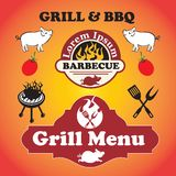 Grill and BBQ. Grill and barbecue signs, symbols and labels Stock Images