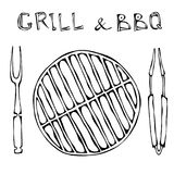 Grill and BBQ Empty. Picnic and Barbeque Appliances Tongs and Fork. Outdoor Party. Hand Drawn Illustration. Savoyar Doodle Style. Grill and BBQ Empty. Picnic royalty free illustration