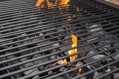 Barbecue grill grate. BBQ, fire, charcoal stock images