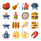Grill and bbq flat icons Royalty Free Stock Photography