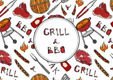 Grill and BBQ Lettering. Seamless Pattern of Summer BBQ Grill Party. Steak, Sausage, Barbeque Grid, Tongs, Fork, Fire, Ketchup. Ha. Nd Drawn Vector Illustration Royalty Free Stock Image