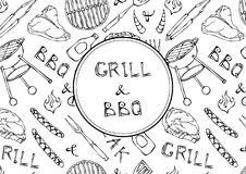 Grill and BBQ Lettering. Seamless Pattern of Summer BBQ Grill Party. Steak, Sausage, Barbeque Grid, Tongs, Fork, Fire, Ketchup. Ha. Nd Drawn Vector Illustration Stock Images