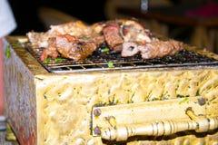 Grill BBQ mit Fleisch, Minigrill Lizenzfreie Stockfotografie