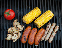 Grill bbq sausages and vegetables Stock Photo