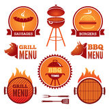 Grill and BBQ. Set of colored grill and BBQ symbols and labels vector illustration