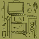 Grill & BBQ. Vector illustration of the grill and barbecue beef, pork and chicken, grilled image ovens, barbecue tools and vegetables stock photo
