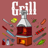 Grill & BBQ. Vector illustration of the grill and barbecue beef, pork and chicken, grilled image ovens, barbecue tools and vegetables royalty free stock photo