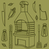 Grill & BBQ. Vector illustration of the grill and barbecue beef, pork and chicken, grilled image ovens, barbecue tools and vegetables royalty free stock photography