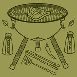 Grill & BBQ. Vector illustration of the grill and barbecue beef, pork and chicken, grilled image ovens, barbecue tools and vegetables royalty free stock images