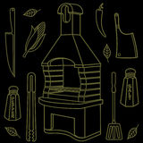 Grill & BBQ. Vector illustration of the grill and barbecue beef, pork and chicken, grilled image ovens, barbecue tools and vegetables royalty free stock image