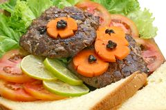 Grill Beef Hamburger with salad Royalty Free Stock Photos